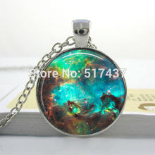 Free Shipping Nebula space pendant , astronomy geek jewelry, sci-fi science galaxy space necklace glass dome pendant