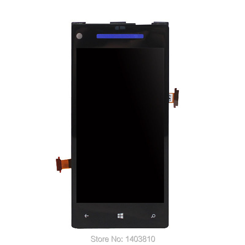 Black For HTC 8X Phone LCD Display Touch Screen Digitizer Assembly + Bezel Frame