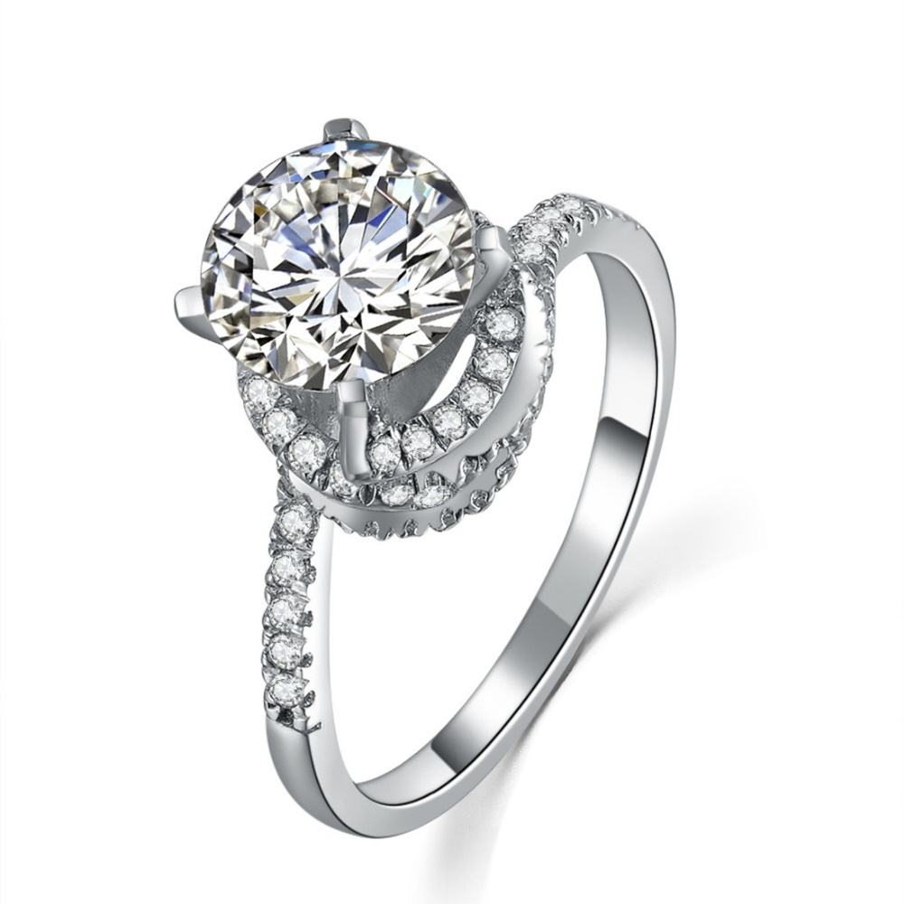 Engagement Rings Sale Price: Solid 18K White Gold Ring Vintage SONA Mancreat Diamond