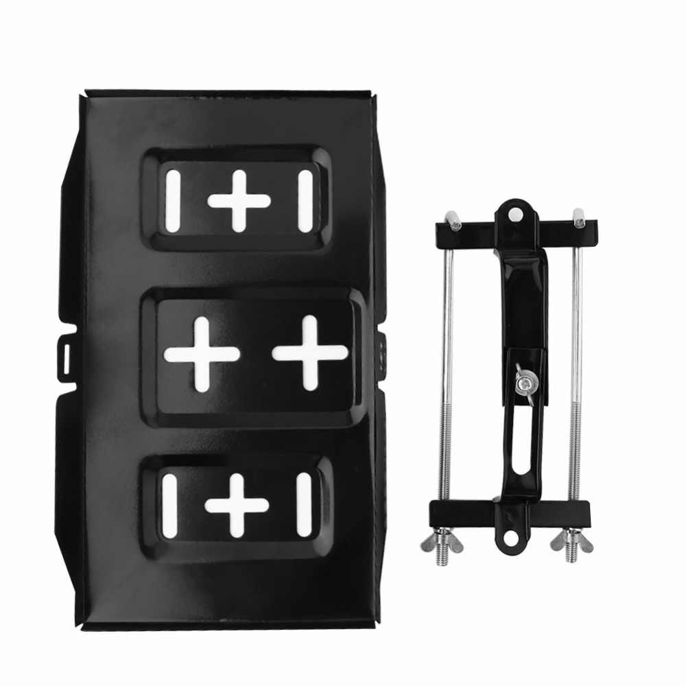 Metal Car Storage Battery Holder Adjustable Stabilizer Tray Hold Down Clamp Set
