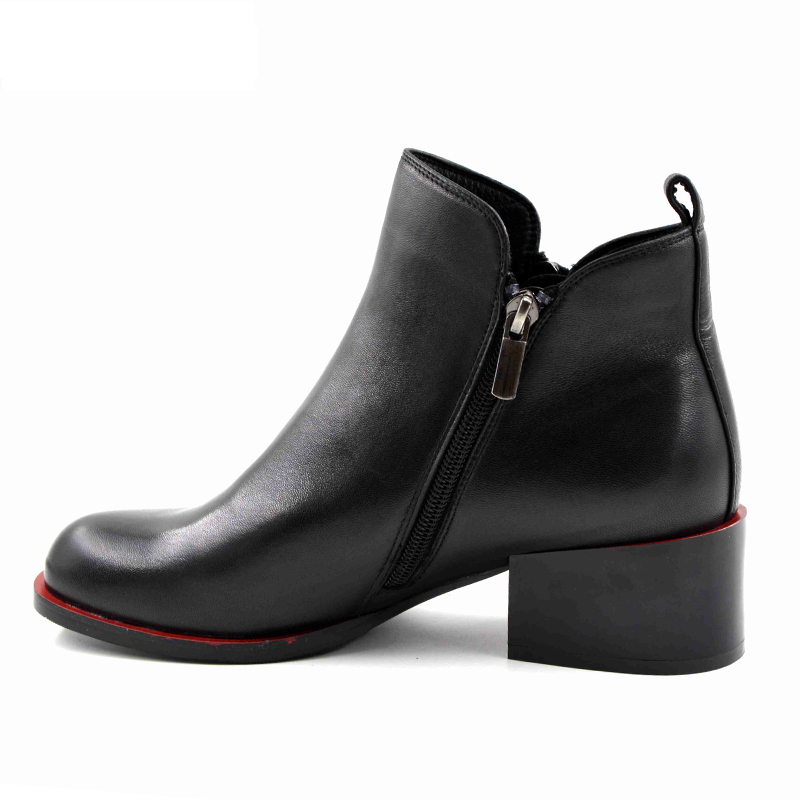 2018 New Women's Shoes Women High Heels Ankle Boots Genuine Leather Shoes Warm Short Plush Inside Autumn Fashion black boots