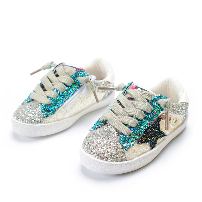 DIMI 2018 Fashion Children Shoes Girls Boys Casual Sport Shoes Shiny Sequins Breathable Baby Sneakers Soft Kids Shoes For Girl hot sale baby casual shoes fashion white shoe non skid breathable shoes soft rubber sole for babies boys and girls page 1