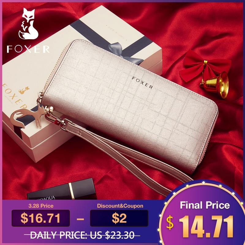 e3fd49f5bcb7 FOXER бренд для женщин кожа женские кошельки с Wristle роскошные женские  длинные женский кошелек клатч держатель