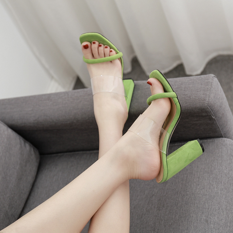 In the summer of 2019 the new female sandals High heels Green shoes In the summer of 2019 the new female sandals High heels Green shoes