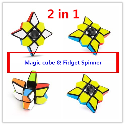 Stress Relief Fidget Spinner combo 1x3x3 fidget magical cube 2 in 1 educational toy for children best gift free shipping