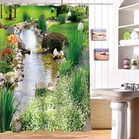 Pretty Stream water Scenic Pattern Polyester Fabric Waterproof Shower Curtain Eco Friendly Bathroom Curtain Home