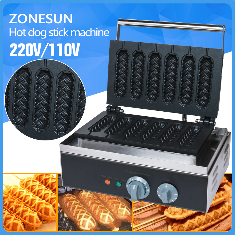 где купить Free Shipping Commercial Use Non-stick 5pcs 110v 220v Electric French Hot Dog Waffle Stick Iron Maker Baker Machine по лучшей цене