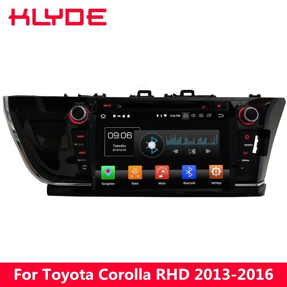 KLYDE 9 4 г WI FI Android 8,0 Octa Core 4 ГБ Оперативная память 32 ГБ Встроенная память DVD мультимедиа плеер радио стерео для Toyota Corolla 2013 2016 РЖС