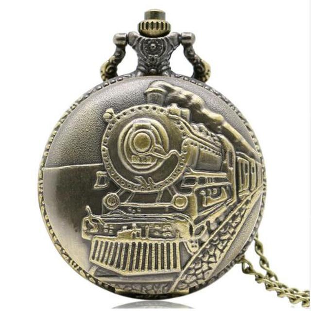 Train Front Locomotive Engine Quartz Railway Pocket Watch Steampunk Nacklace Pen