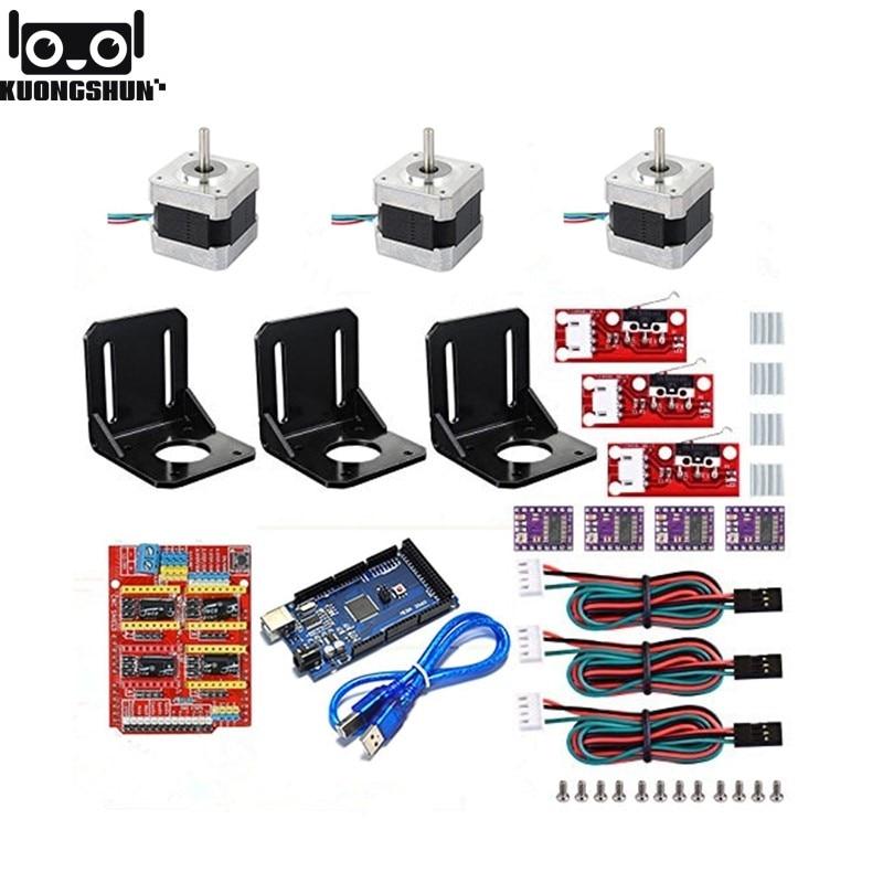 Kit de impressora 3D com CNC V3 Escudo + Mega 2560 + RAMPS 1.4 Interruptor Fim De Curso Mecânico + DRV8825 Stepper Motor + 17 Nema Do Motor de Passo