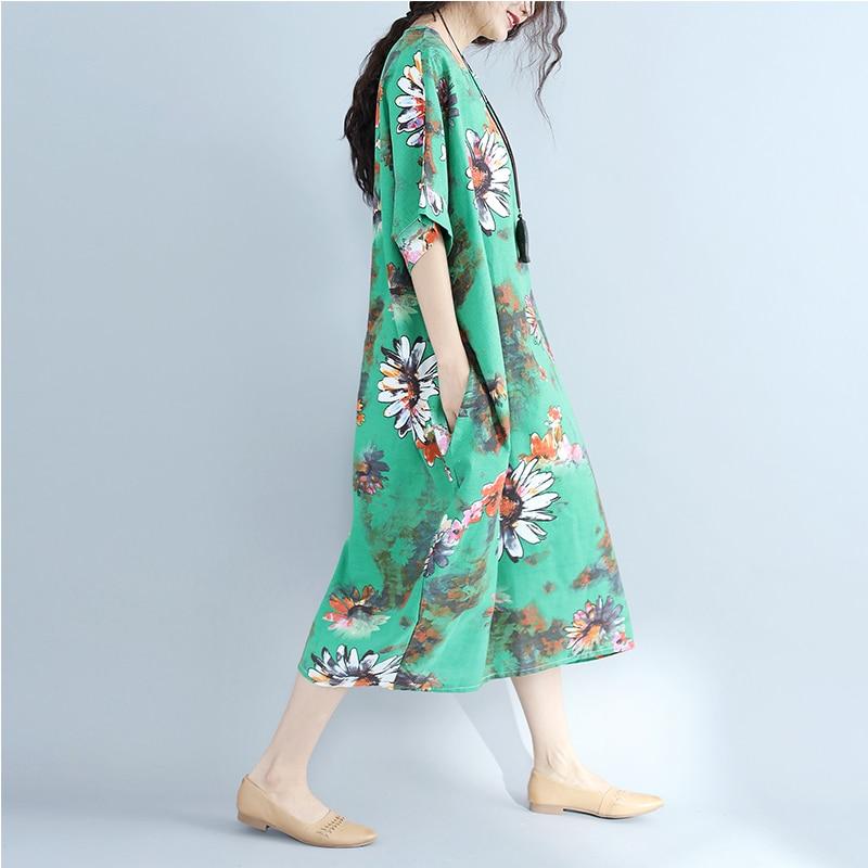 MissLymi XXXL 6XL Plus Size Women Cotton Linen Green Long Dress 2017 Casual  Loose Short Sleeve Vintage Flower Print Summer Dress-in Dresses from Women s  ... f10af0402dab