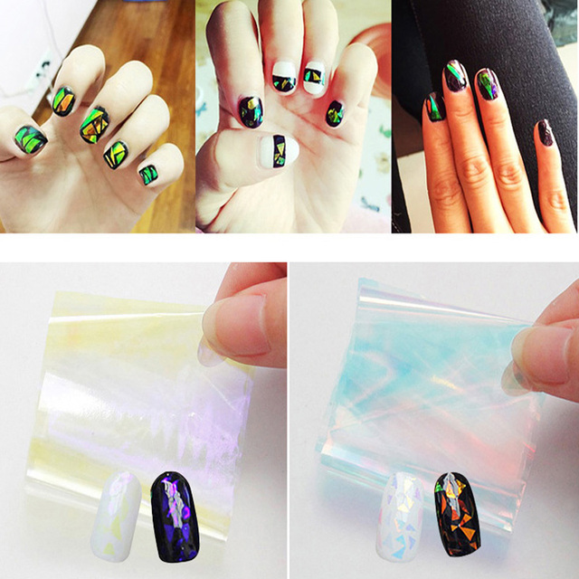 Hot 5pcs Broken Gl Holographic Starry Sky Glitter Foils Nail Art Paper Sticker Diy Beauty
