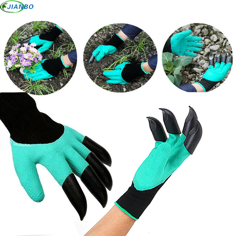 New Arrival 4 Hand Claw Plastic Rubber Garden Safety Work Gloves Quick Excavation Plant Waterproof Guantes Mtb Household Product