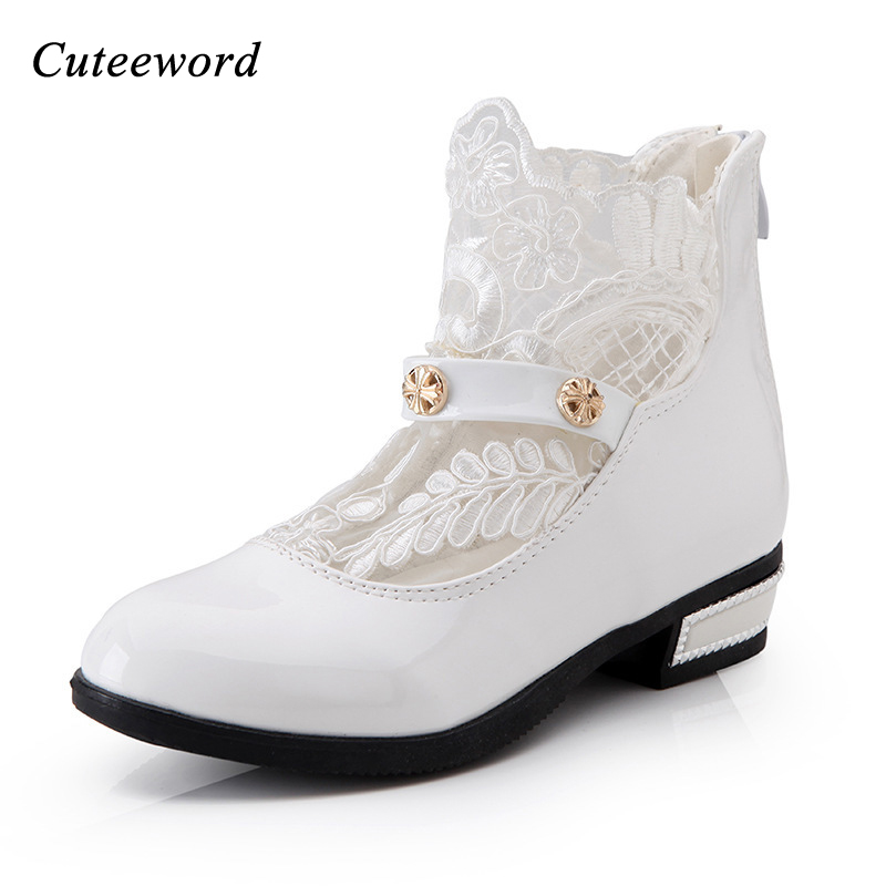 2017 Spring Autumn Tide Korea White Girls Princess Leather Shoes Children Flower Dress Minnie Shoes For Girls Baby Shoes Kids