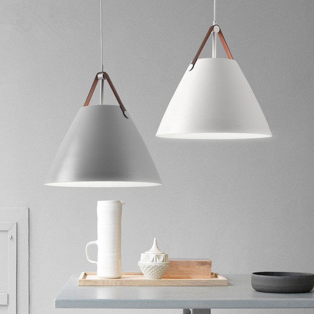 Modern Nordic Pendant Lights Cone LED White Pendant Lamp Kitchen - Light fixtures for kitchen dining area