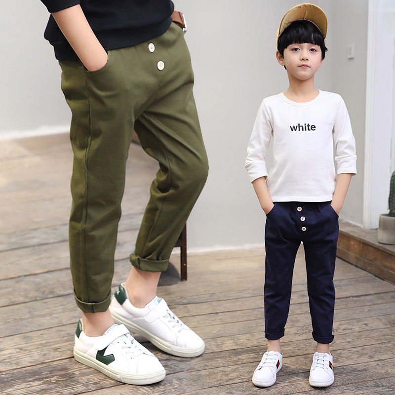 Kids Boys Pants Casual Black Kids Pants Boys Trousers 2018 New High Quality 3 Colors Teen Pencil Pants Size 10 12 14 16 Year high quality 3 11yrs boys