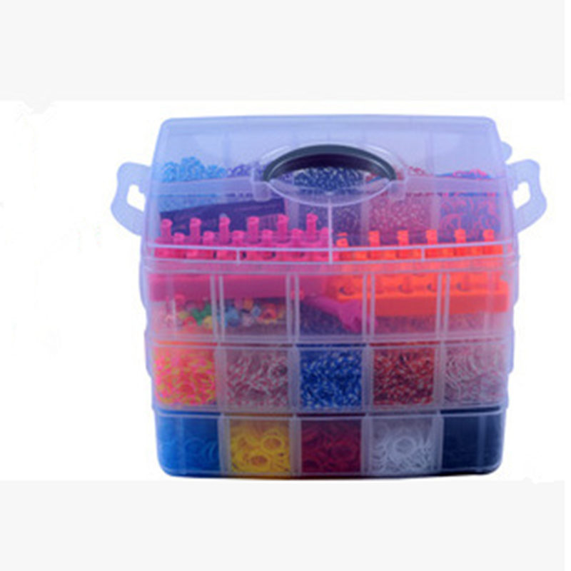 10000 unids DIY rainbow color rubber band bracelet gift box new large three-layer weaving machines