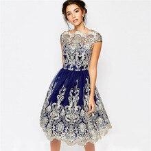 Vintage Hollow Out Mesh Embroidery Tutu Dress Female Knee Length Navy Blue Evenig Dress Party Gown Slash Neck A Line Dress