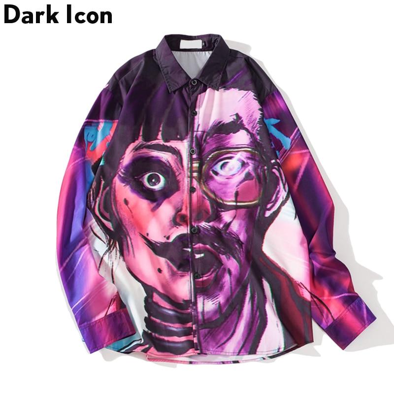 Dark Icon Half Face Printing High Street Style Shirts 2019 Spring Autumn Oversized Men's Shirts Streetwear Hip Hop Shirts Male