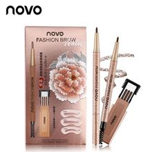 NOVO Waterproof Long Lasting Eyebrow Pencil With 3pcs pencil Refill+3pcs Eye Bro
