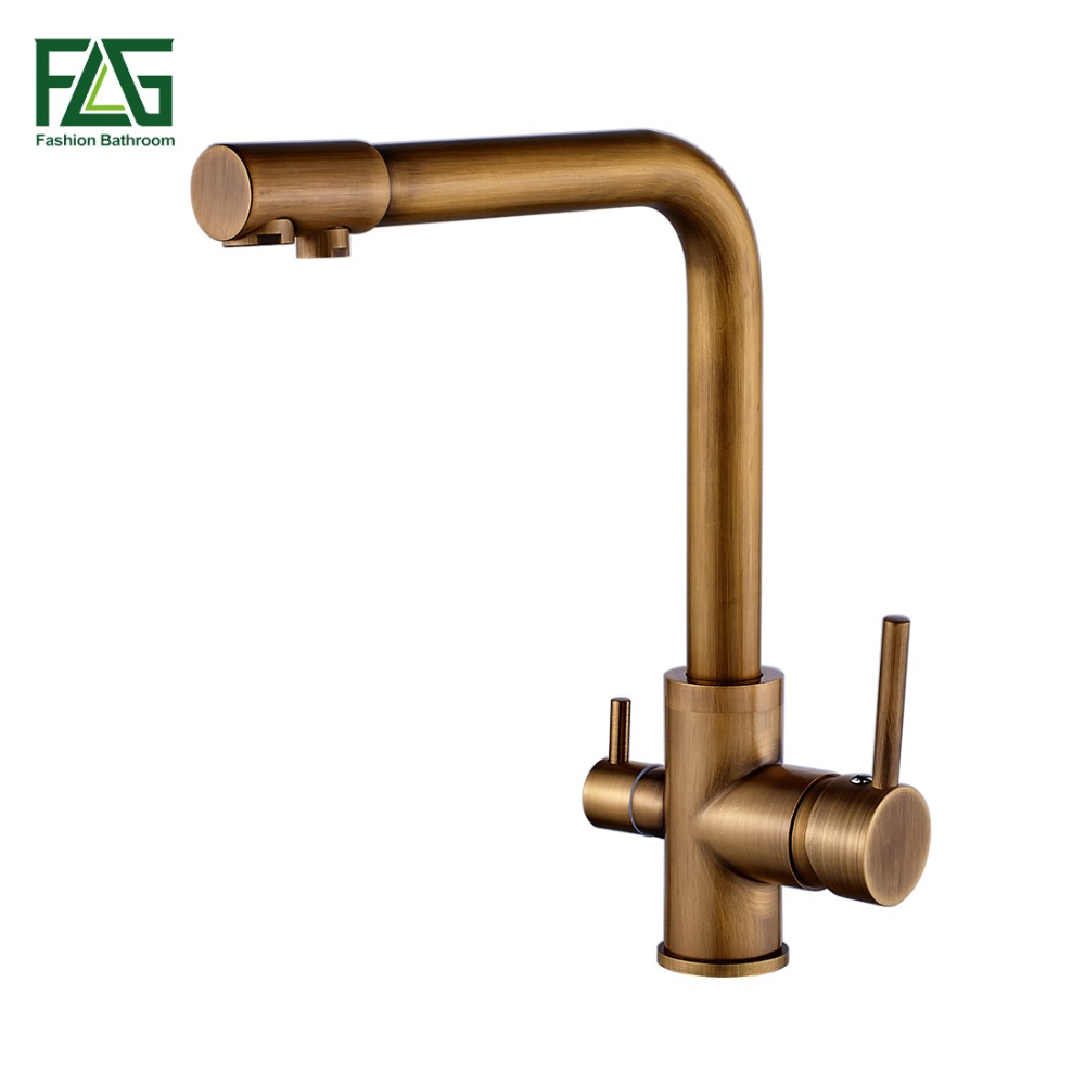 FLG 100% Brass Antique Mixer Swivel Drinking Water Faucet 3 Way Water Filter Purifier Kitchen Faucets For Sinks Taps 242-33C sognare 100% brass marble painting swivel drinking water faucet 3 way water filter purifier kitchen faucets for sinks taps d2111