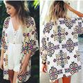 2016 Autumn Shirt Style New Tops Women Blouses Printed Shirts Casual Camisas  Vintage Kimono Cardigan Plus Size