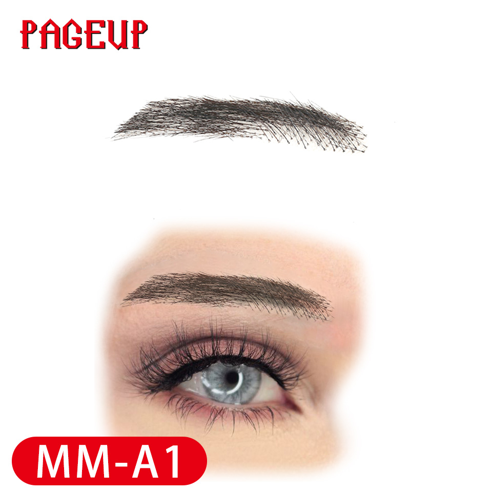 Image 2 - Pageup Handmade False Eyebrows For Women Made By 100% Real Hair For Party Wedding Cosplay Star Fake Eyebrow Synthetic EyebrowsSynthetic Weave   -