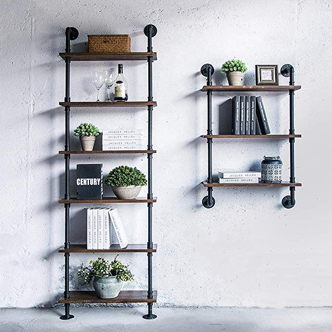 Industrial Wallshelf Rustic Modern Wood Ladder Pipe Wall Shelf 6 Layer Pipe Design Bookshelf DIY Shelving Wall Storage Holders