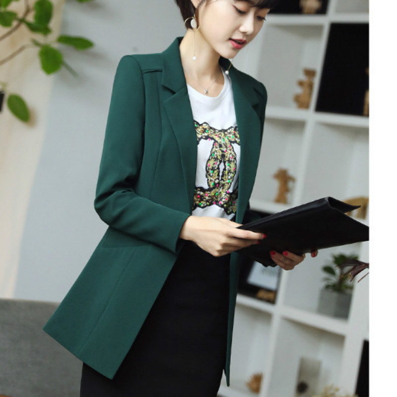 Women 39 s Blazer 2019 New Autumn Korean Solid Color Casual Single Buckle Slim Long Sleeve Small Suit Fashion Women 39 s Jacket in Blazers from Women 39 s Clothing