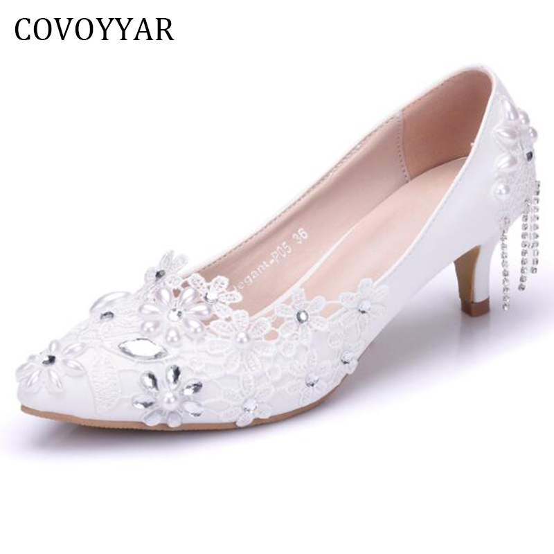 Covoyyar Elegant Flower Pearl Bridal Shoes 2019 Beaded Lace White