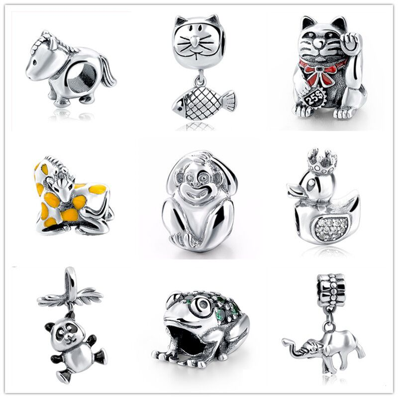SG Authentic 925 Sterling Silver Charms Original Monkey Cat Horse Charm Beads Fits pandora Ապարանջաններ DIY զարդեր նվերների համար