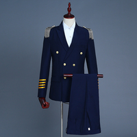 Новый бренд сине белые Для мужчин костюмы Мода Военная форма золотистыми пуговицами эполет пилот костюм блейзеры Бизнес свадебные мужской