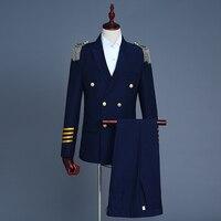 NEW Brand Blue White Men Suits Fashion Military Uniform Gold Button Epaulette Pilot suit Blazers Business Wedding Male Tuxedo