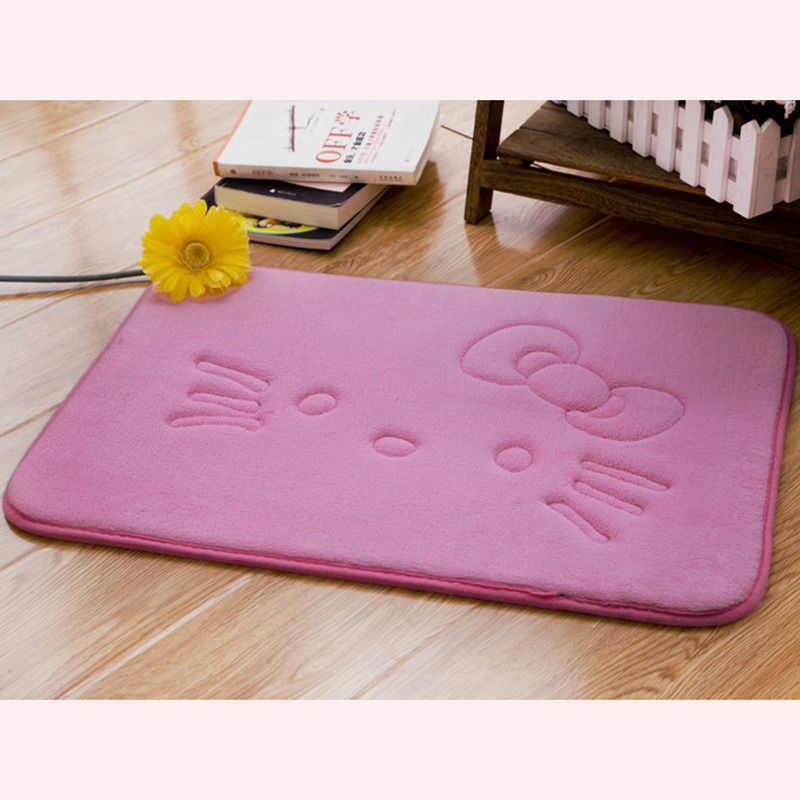 Lovely Thick Coral Velvet Carpet Doormat Cartoon Hello Kitty Crawling Mat Anti-slip Mat Kitchen Living Room Carpet D5