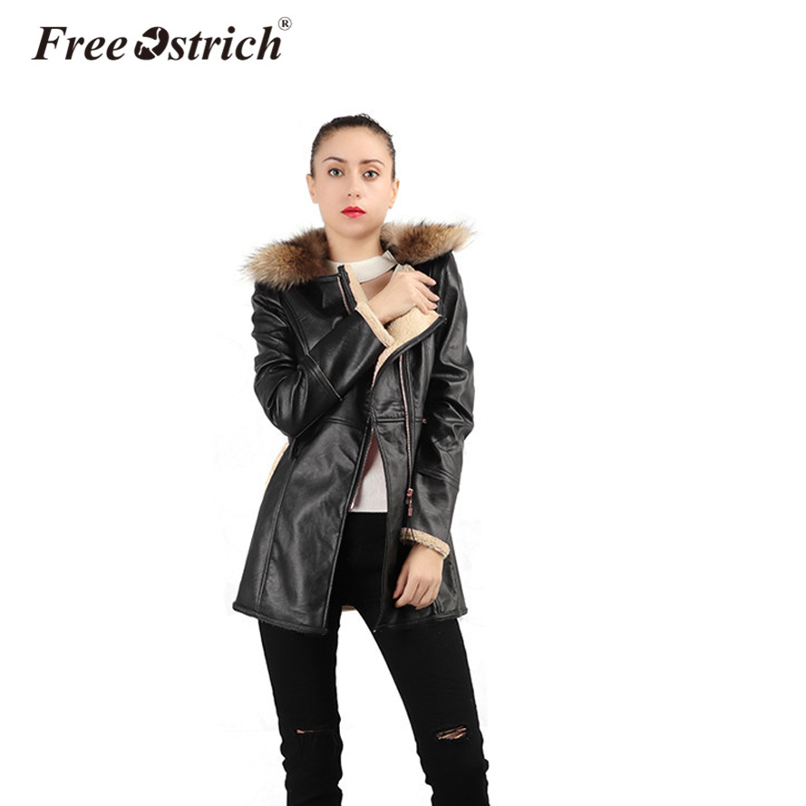 Free Ostrich Leather Jacket Winter Women Oversized Coat Velvet Loose Long Sleeve Turn-down Collar Zipper Overcoat Female O26
