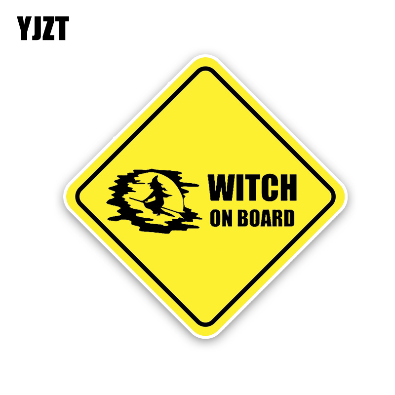YJZT 14 см * 14 см ведьма на борту забавная Автомобильная Наклейка ПВХ 12-40520