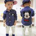 2016 outono nova marca clothing crianças meninos camisas das crianças encantador dos desenhos animados mickey polka dot camisas de manga comprida com gola bebes