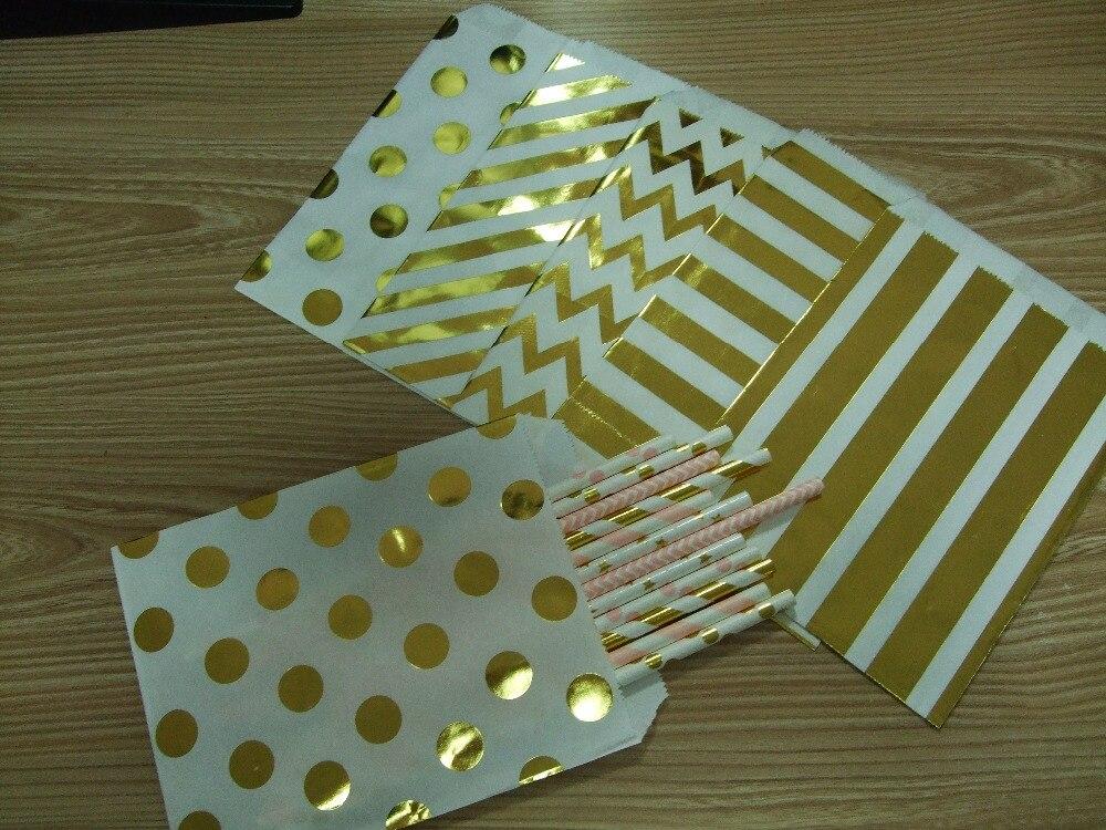 En gros 1000/3000/5000 pièces feuille d'or bonbons sacs en rayures à pois Chevron or papier sacs pop-corn sacs pour la fête de l'école de mariage