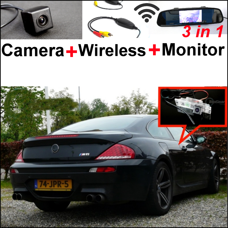 3in1 Special WiFi Camera + Wireless Receiver + Mirror Monitor Easy DIY Parking Rear View System For BMW 6 M6 E63 E64