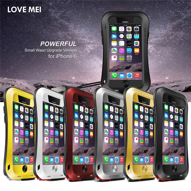 Love Mei case For iphone 6s 4.7 waterproof Shockproof metal Small pretty wais cover cases For iphone6 Tempered Glass phone case