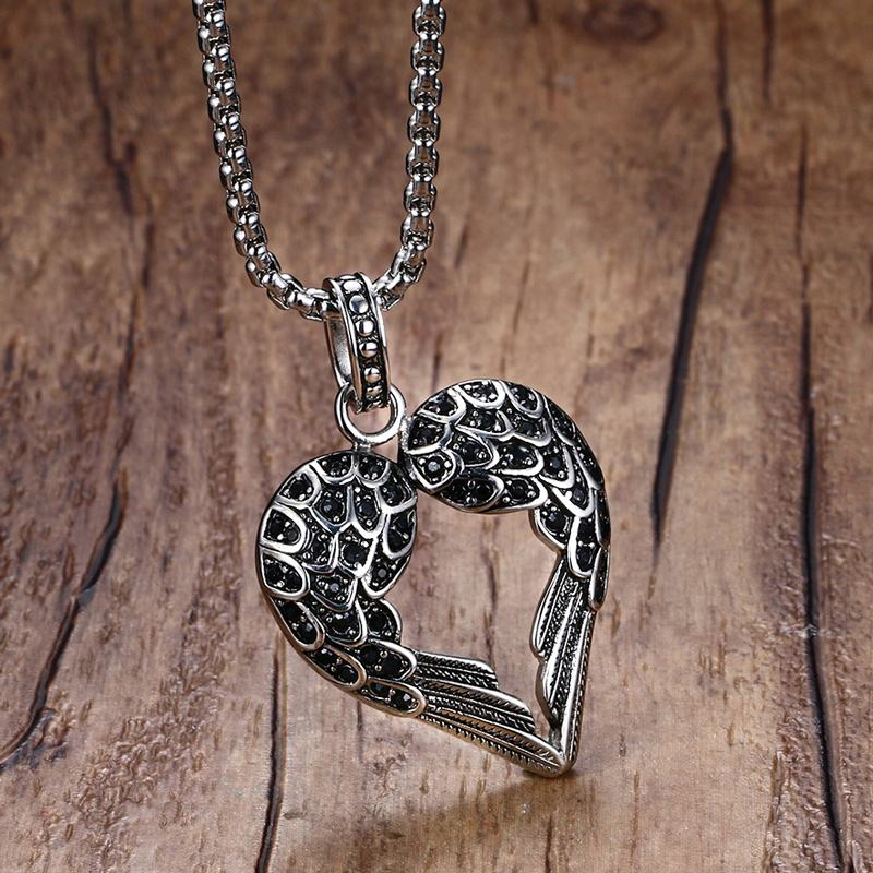 Vintage Punk Mens Necklaces Pendant Stainless Steel Black Tone Crystal Guardian Angel Heart Wings/Wing Necklace Gift for Women vintage bird wings necklace for women