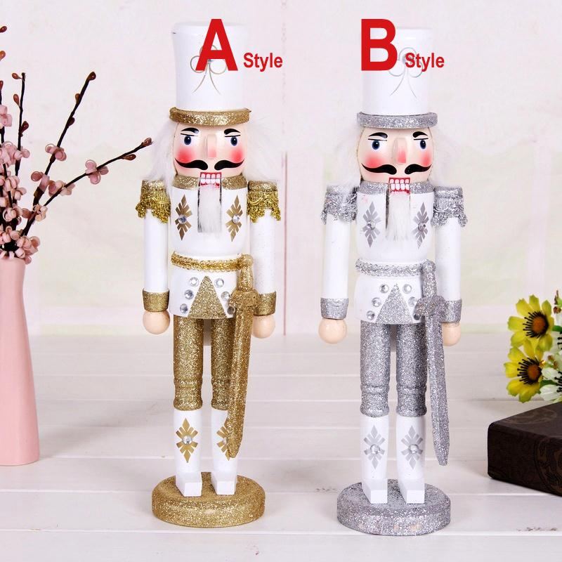 ht083 Free shipping hot selling new Sparkling gold and silver soldiers nutcracker   Movable Christmas doll puppets gifts 30 cm ht025 free shipping movable doll puppets 13cm hardcover box painted walnut wooden nutcracker children christmas toy 2pcs lot