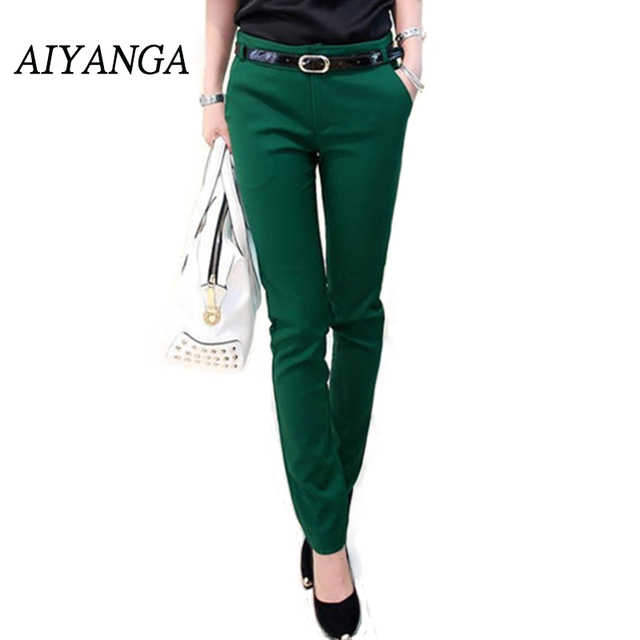 AIYANGA 2019 Elastic Fabric Candy Color Pants Mid Waist Office Lady Trousers Women Summer Harem Pencil Pants Female