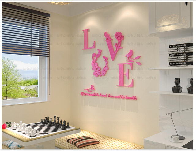 Cheap Price Multicolor Love Letter 3D Acrylic Wall Stickers Couple ...