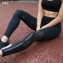 2017 frais de femmes extensible maigre sheer empiècements en maille workout leggings yoga collants maille panneaux pour ventialtion et style
