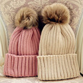 Free shipping 2015 fashion hat woman Solid color knitted hat high-elastic thermal hair balls women's knitted hat