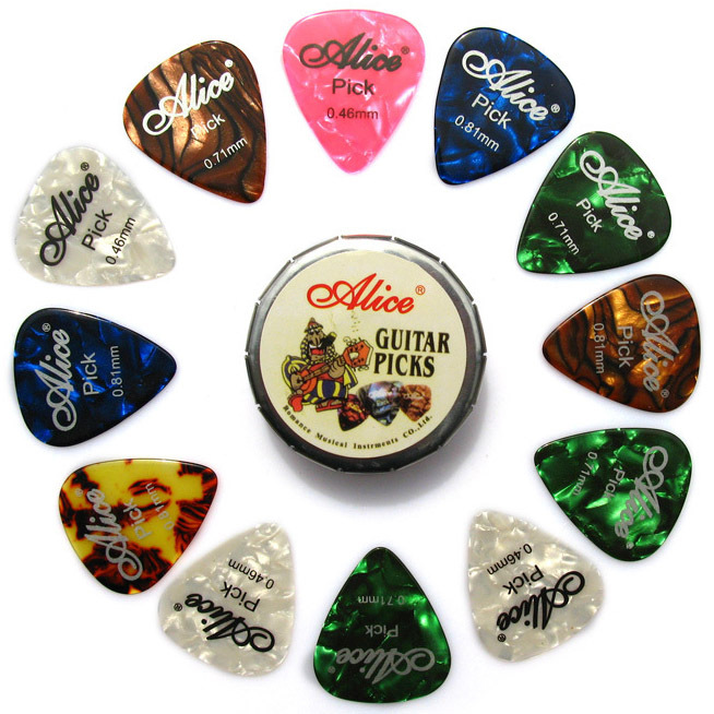 MSOR Alice Tin Celluloid Guitar Picks, 12 colorful plectrum in one cute round metal box, acoustic electric guitar strum picks alice plastic guitar picks 12 pack
