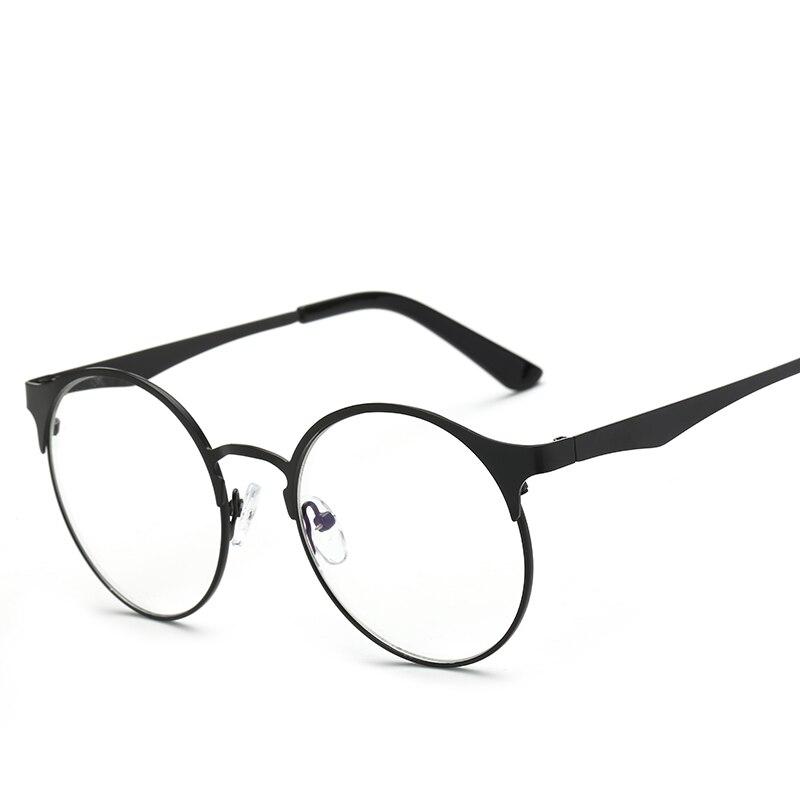 2e3c1220e Homens e mulheres de quadros de vidro liso, óculos de armação redonda de  metal retro, vidros decorativos, óculos de grau 1603