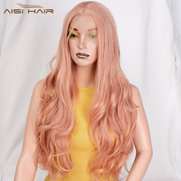 I's a wig Long Wavy Pink Synthetic Front Lace Wig Ombre Blonde Wave Wigs for Women Black Hair Heat Resistant Fiber Hairs