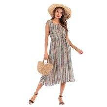 YYFS 2019 Fashion Women Striped Print Summer Dress Elegant O-Neck Backless Strap Beach Female Midi Vestido Verano